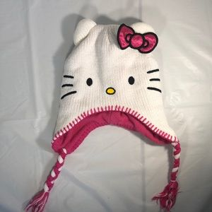 Hello Kitty Winter Hat, Size 4-16, Pink/White, EUC